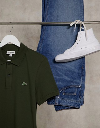 Lacoste slim fit polo in french pique with croc in khaki