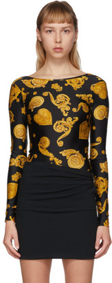 Versace Black Baroque Jewels Bodysuit