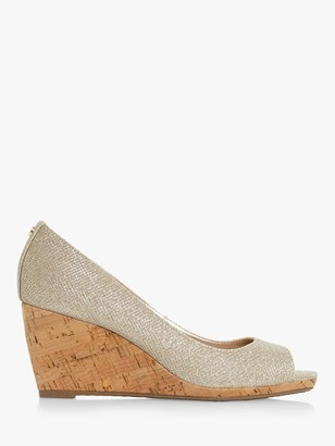 Dune Caydence Peep Toe Cork Wedge Sandals, Gold
