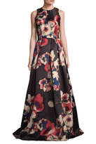 David Meister Floral Sleeveless Gown