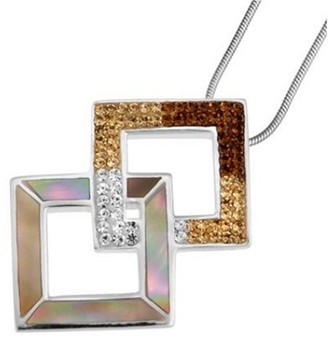 Mother of Pearl Oliver Weber Life Collection 7548 Brown Ladies' Pendant 925 Sterling Silver Swarovski Crystal and Mother-of-Pearl + 41cm Chain