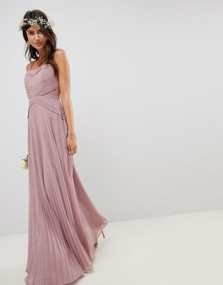 ASOS DESIGN Pleated Paneled Cami Maxi Dress With Lace Inserts