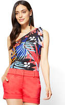New York & Co. Bow-Detail One-Shoulder Blouse - Palm Print