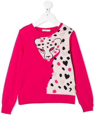 Billieblush Long Sleeve Knitted Leopard Jumper