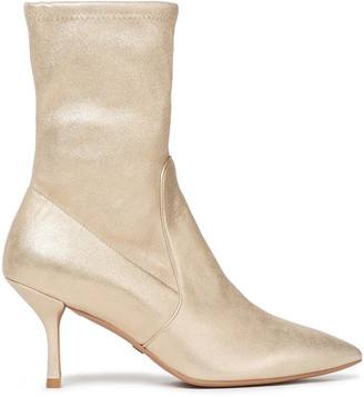 Stuart Weitzman Metallic Stretch-leather Ankle Boots