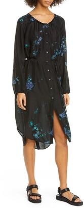Raquel Allegra Poet Dye Pattern Long Sleeve Silk Dress