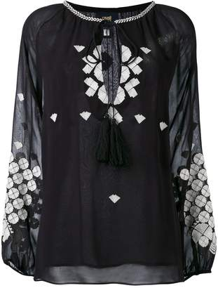 Class Roberto Cavalli embroidered long-sleeve blouse