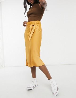 Nobody's Child midi satin wrap skirt in mustard