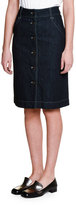 Tomas Maier Button-Front Denim Skirt, Dark Navy