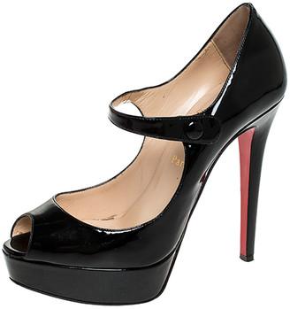 Christian Louboutin Black Patent Leather Zeppa Peep Toe Mary Jane Pumps Size 37.5