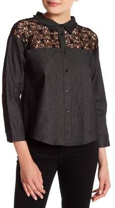 ENGLISH FACTORY Button Up Crochet Denim Shirt