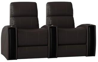 Latitude Run Leather Home Theater Row Seating (Row of 2) Latitude Run Body Fabric: Classic Cappucino, Reclining Type: Manual