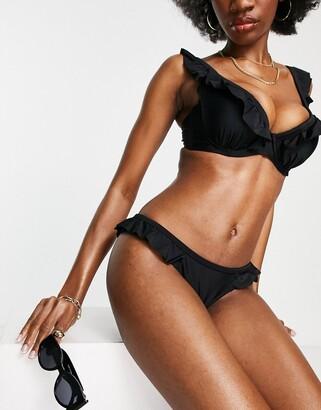 Ivory Rose Fuller Bust frill bikini top in black DD - G