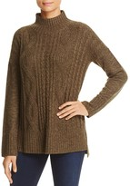 Sanctuary Mock Neck Cable-Knit Sweater