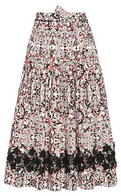 Tomas Maier Printed cotton skirt with appliqué
