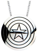 """Marvel Women's Captain America Shield Logo Stainless Steel Polished Pendant Necklace (18"""")"""