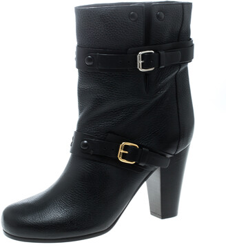 Chloé Black Leather Prince Mid Calf Boots Size 39