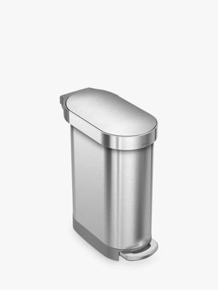 Simplehuman Slim Pedal Bin, Stainless Steel, 45L