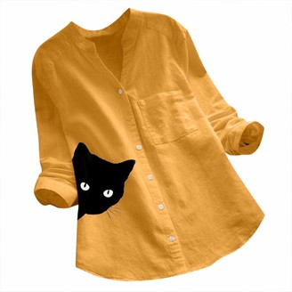 jieGorge Women Tops and Blouses Women Cotton Linen Casual Cat Printed Long Sleeve Shirt Blouse Button Down Tops