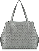 Jimmy Choo PIMLICO/S Gunmetal Metallic Nappa Small Tote Bag with Embossed Stars