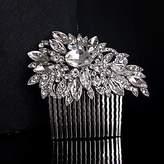 BST Wedding Headpieces BST Wedding Bride Flower Austria Rhinestone Silver Combs Hair Accessories