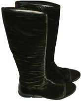 Prada Brown Velvet Boots