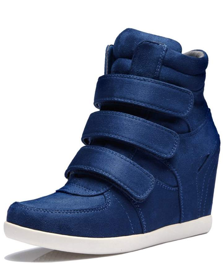 a491716762c10 U-MAC High Top Wedge Sneakers for Women's - Anti-Slip Rubber Sole Hidden  Heel Round Toe Platform Casual Shoes