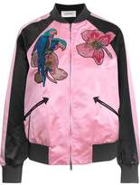 Valentino Appliquéd Silk-Satin Bomber Jacket