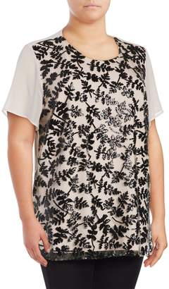 Vince Camuto Plus Short Sleeve Sequined Embroidered Blouse