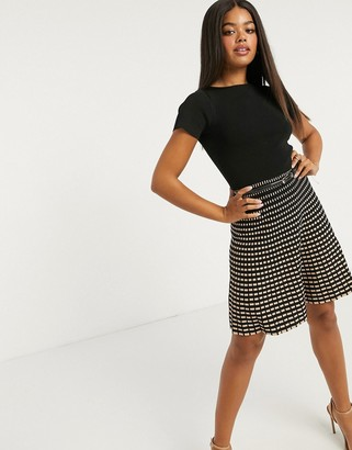 Lipsy knitted fit and flare dress with contrast skirt in black multi