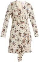 MSGM Asymmetric-ruffle floral-print crepe dress