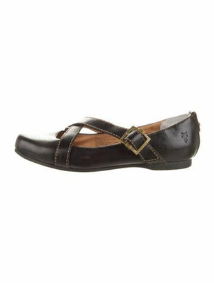 Frye Leather Mary Jane Flats Brown