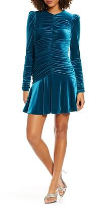 ML Monique Lhuillier Long Sleeve Ruched Cocktail Dress