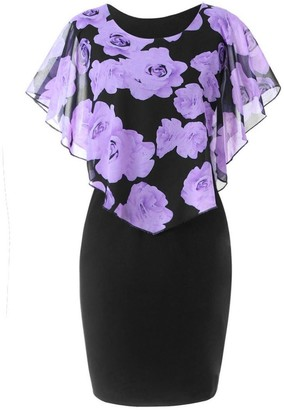 OYSOHE Fashion Womens Casual Rose Print Chiffon O-Neck Ruffles Mini Dress Purple