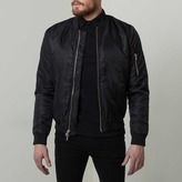 DSTLD Mens Nylon Bomber Jacket with Silver Zippers in Black