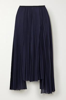 Helmut Lang Asymmetric Pleated Jersey Midi Skirt - Navy