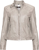 Cabrini Plus Size Stand-up collar leather jacket