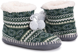 Muk Luks Women's Slippers Green - Green Geometric Stripe Slipper Boot - Women