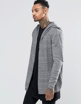 Asos Knitted Hooded Cardigan in Black Twist