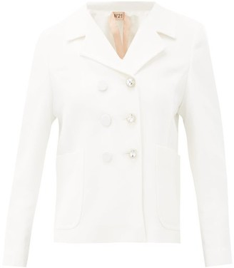 No.21 No. 21 - Tailored Crystal-button Crepe Jacket - Cream