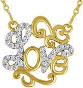 FINE JEWELRY 1/10 CT. T.W. Diamond 14K Yellow Gold Over Sterling Silver Love Script Necklace
