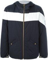 Moncler Gamme Bleu hooded two tone jacket - men - Cotton/Feather Down/Nylon/Cupro - 2