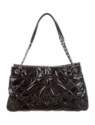 Chanel Patent Leather Timeless Shopper Tote Black