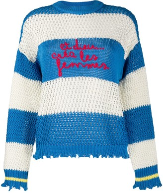 Pinko Striped Embroidered Jumper