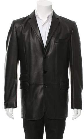 Dolce & Gabbana Leather Three-Button Blazer