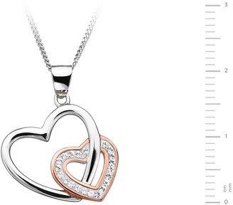 Evoke Rose Gold Plated Sterling Silver Swarovski Crystal Interlinked Heart Pendant Necklace