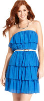Amy Byer Juniors Dress, Strapless Belted Tiered