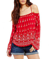 RD Style Bandanna Print Cold Shoulder Top