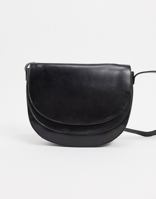 Urban Code Urbancode leather saddle crossbody bag with double flap in black