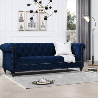 Rosdorf Park Tion Velvet Chesterfield 88'' Rolled Arm Sofa Fabric: Navy Blue